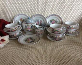 Vintage miniature porcelain toy size Tea set Art Deco Oriental style Japan