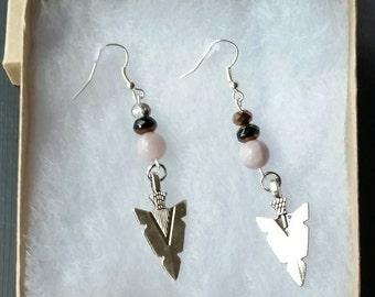 Tan & Brown Arrow Dangle Earrings