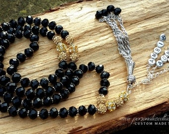 Personalized Tasbihs 4u, Islamic Gifts - Custom made - Black/Gold or Whte/Gold 99 beads - Crystals Eid Ramadan