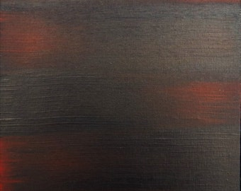 """11""""x14"""" Red and Black Minimalist Abstract Painting"""