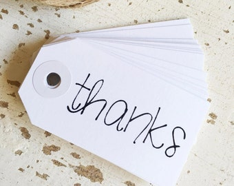 White 'thanks' Tags Pk10 / Favour Tags