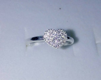 Heart Diamond cut Sterling Silver Fitted Toe Ring