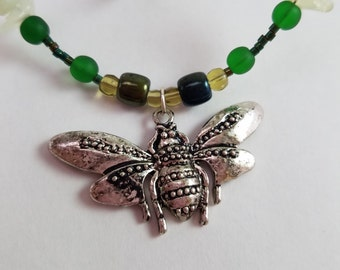 Winged Beetle Beaded Necklace