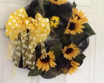Sun flower table decoration or door wreath