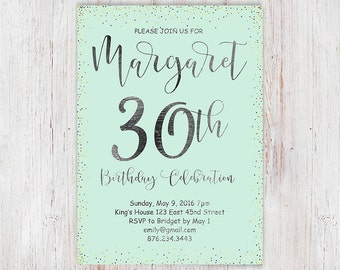 Turquoise and silver glitter 30th birthday party invitation, digital printable womens birthday party invite, glam glitter birthday - 35