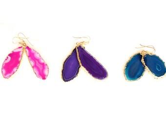 Agate slice earrings
