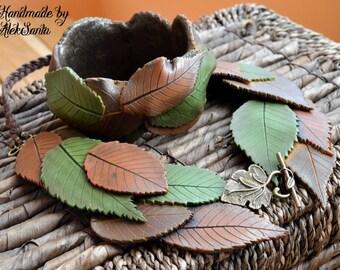 Leaf jewelry Polymer clay jewelry Leaf necklace Leaf bangle Green jewelry Brown jewelry Statement jewelry Autumn jewelry Fall leaves