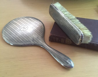 Sterling Silver Gentleman's Intialled Mirror and Brush Set