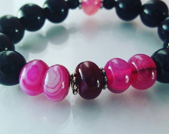 Peppermint and Cranberry Beaded Bracelets