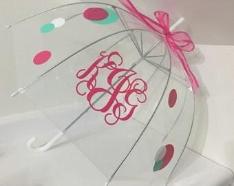 Monogrammed Umbrella - Clear Dome Umbrella - Child