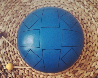 Steel Tongue Drum Blue - Hand made - Tank Drum - Hank Drum - Handpan - Happy Drum