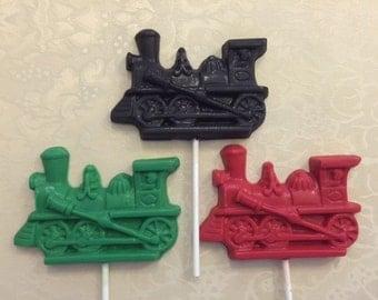 Train Chocolate Lollipop (Large 4 x 2 3/4) (12 qty) Train Birthday Party/Boy Birthday/Girl Birthday/Train Lollipop/Train Favor/Party Favor