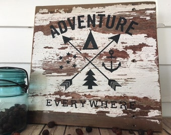 Adventure Wood Sign - Reclaimed Wood - Rustic Decor - Home Decor - Barn Wood - Chippy Paint