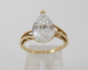 Ring 14K Gold With Pear Shape Diamonique Cubic Zirconia