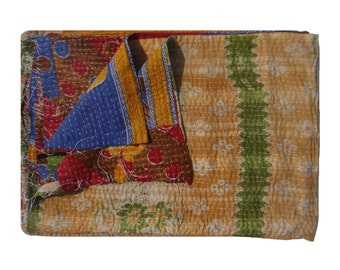 Twin Size Reversible  Bedspread  ,Vintage Kantha Quilt ,Throw Beach Tapestry,Baby Blanket #107