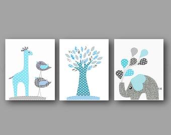 Nursery wall art,baby boy room decor,baby art print,teal nusery,elephant,giraffe,bird,tree