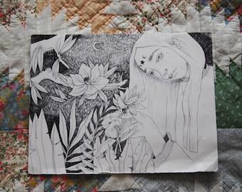 Woman Art, Original Art, Woman Illustration, Black and White Illustration, Oneiric Illustration, Feminine Art, Original Illustration