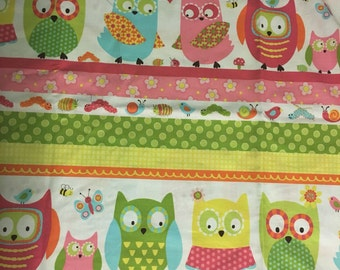 1 yard Who Loves You owl fabric