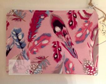 "8"" Make Up Bag  - Pink Feather"