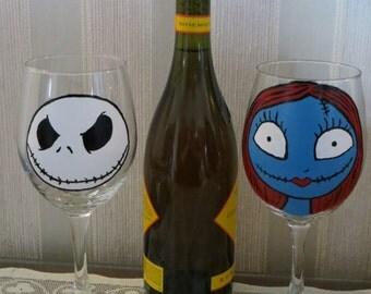 Nightmare Before Christmas inspired wine glass set