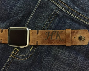 Personalized Distressed Leather Apple iwatch Band, With Free Initials or Monogram