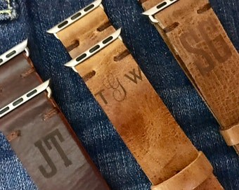 Personalized Distressed Leather Apple watch Band, With Free Initials or Monogram