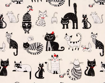 Animal) Cats, Kitten Oxford Cotton Fabric made in Japan by Half Yard