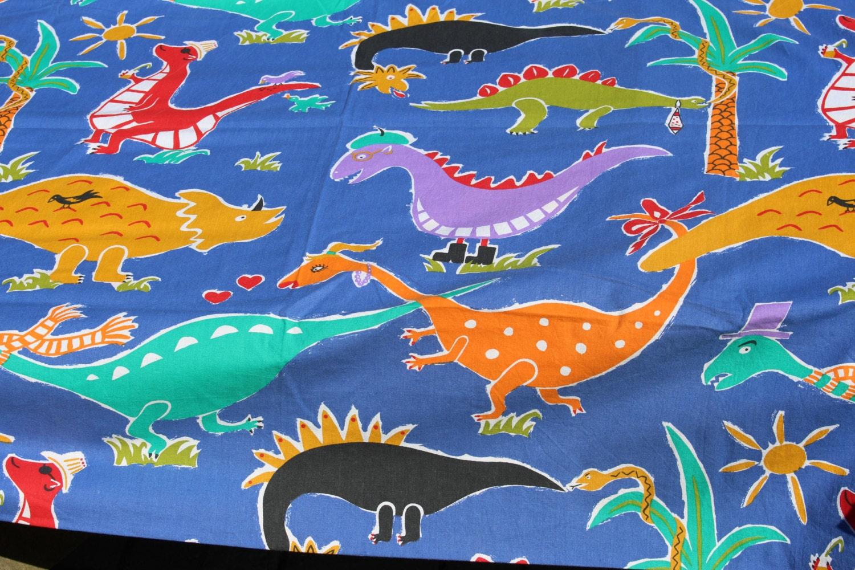 Vintage swedish curtains solsting dinosaur cotton fabric kids for Kids dinosaur fabric