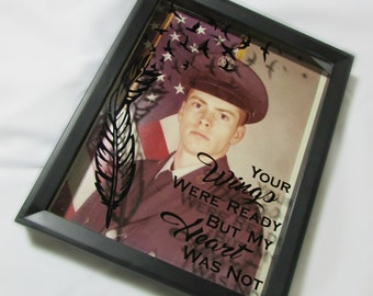 Memory Shadow Box of Lost Loved One Your Wings Were Ready But My Heart Was Not- Military- Grandpartents- Brother- Sister- Parents-Loved Ones