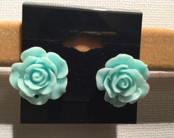 Blue Flower Earrings, Roses, Rose Stud Earrings, Flower Stud Earrings, Bridesmaid Gift, Bride, Flower Jewelry, Floral, Birthday
