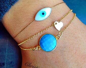 Evil Eye Bracelet, Gold Evil Eye Bracelet, Heart Bracelet, Turquoise Bracelet, Turquoise Stone Bracelet, Evil Eye Jewelry, Gold 24k Bracelet