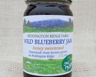 honey sweetened Maine wild blueberry jam/honey sweetened wild blueberry jam/blueberry jam with honey/honey sweetened berry jam/blueberry jam