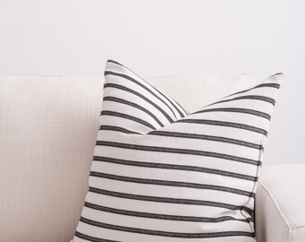 Black and White Stripe, Fully Washable, Hypoallergenic Complete Pillow designed by Jo Alcorn