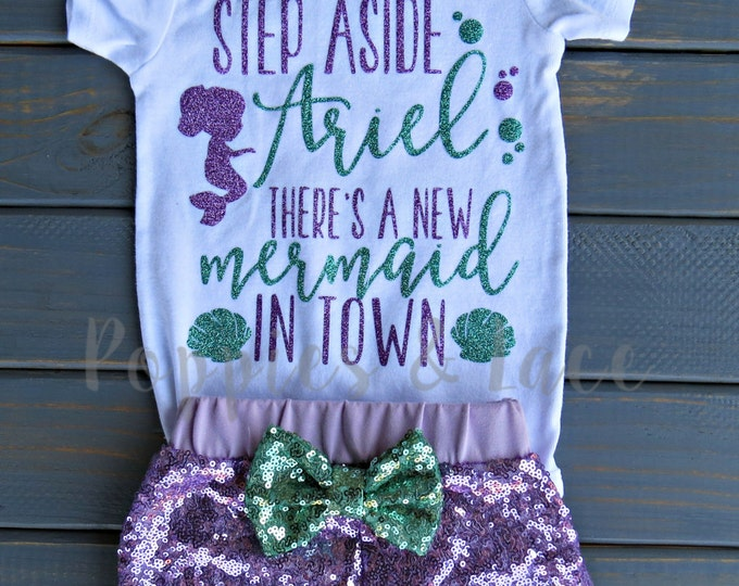 Mermaid Birthday Outfit, Under the Sea Bodysuit, Purple Sequin Shorts, Girls' Birthday Outfit, Mermaid Outfit