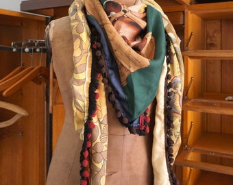 Silk shawl made from vintage scarves