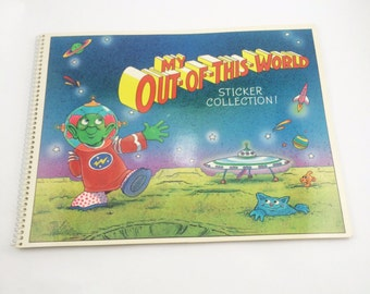My out of this world sticker collection, vintage sticker collection book, from the 1980s