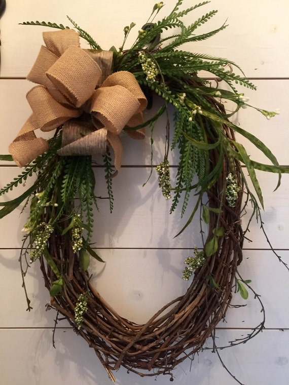 Perfect Door Wreath Burlap Bow Greenery Wreath Oval Wreath