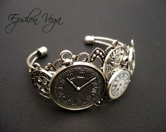 "Steampunk pocket watches silver bracelet : ""Time Obsession"""