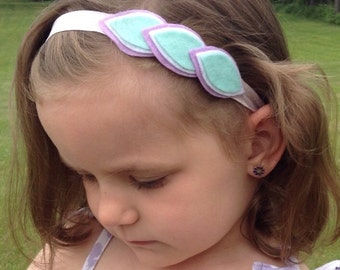Lavender/Aqua Leaf Headband