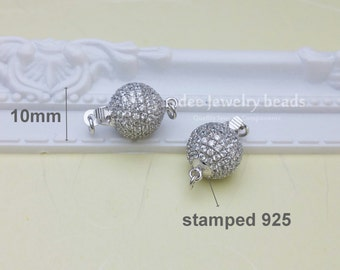 10mm 925 silver full pave cz ball clasp, diy sterling silver clasp,Solid 925 Sterling Silver with Rhodium Plated F193