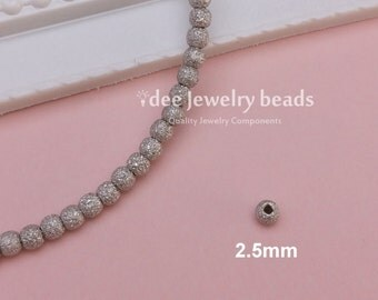 2.5mm silver round stardust beads, Solid 925 Sterling Silver with Rhodium Plated for Anti Tarnish F353