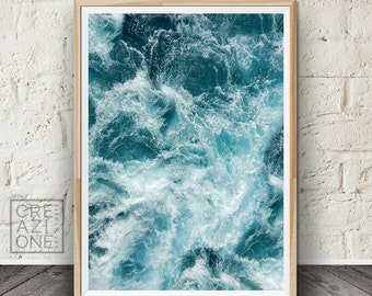 Sea Foam print, Ocean waves Printable art, Water, Blue wall decor, Summer decor, Sea photography #055