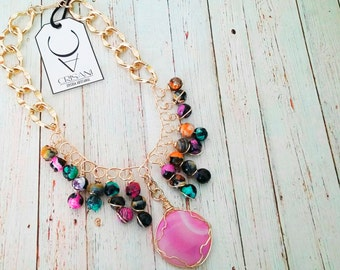 Agate necklace and gold plated