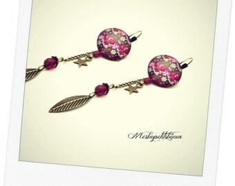 long earrings cabochon flowers pink fuchsia