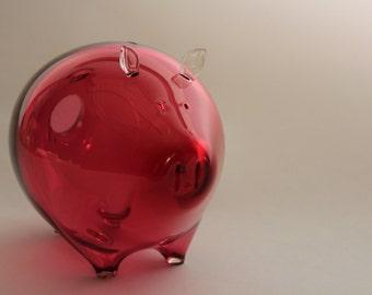 PIGGI Bank // Pink Glass