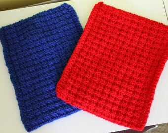 Red and Blue Dish Clothes
