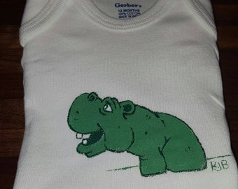 Hand Painted Long Sleeve Green Hippo 12 Months Onsie