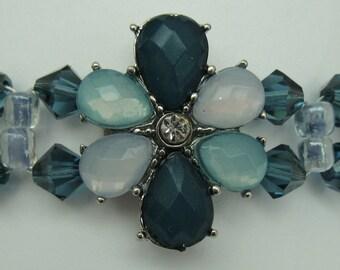 BR08 - Unique Handmade Antique Look Blue/Green Floral Bracelet