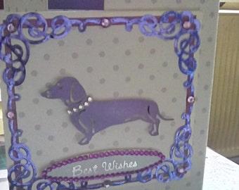 Dachshund Gate-Fold Greeting Card (lilac & white)