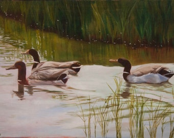 Three Ducks - Original oil painting 33 × 22 cm
